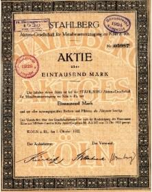 Stahlberg - Aktien-Gesellschaft für Metallwarenerzeugung zu Köln a. Rh.