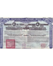 Emprunt 8% 1922 pour la fourniture de matériel de chemin de fer