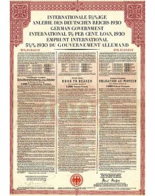 German Government International 5,5% Loan 1930 - French Issue. Internationale 5.5% Anleihe des Deutschen Reichs 1930