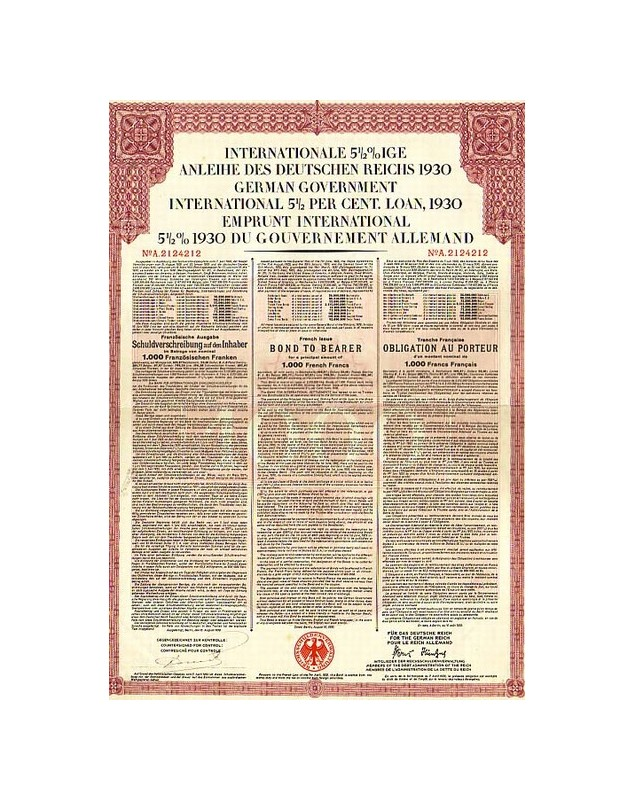 Emprunt International 5,5% 1930 du Gouvernement Allemand - Tranche française