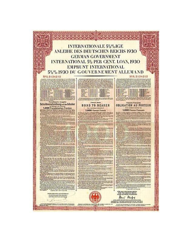 German Government International 5,5% Loan 1930 - French Issue. Internationale 5.5% Anleihe des Deutschen Reichs 1930