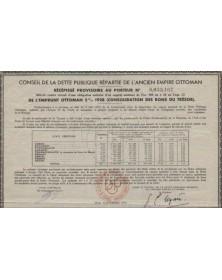 Conseil de la Dette Publique Répartie de l'Ancien Empire Ottoman. 5% 1928 (Consolidation des Bons du Trésor)
