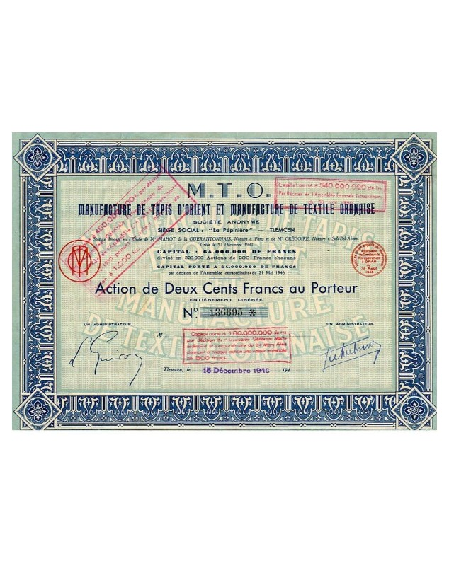 M.T.O. Manufacture de Tapis d'Orient & Manuf. de Textile Oranaise
