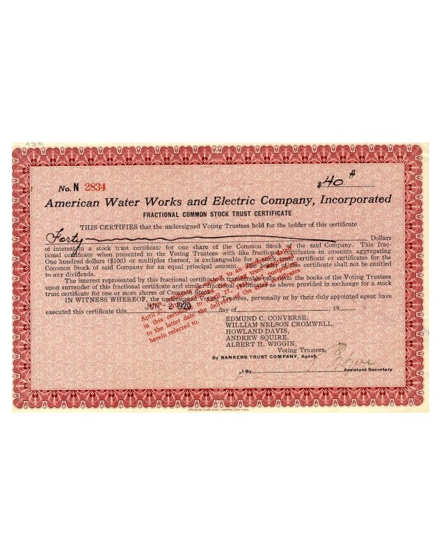 American Water Works and Electric Co., Inc.