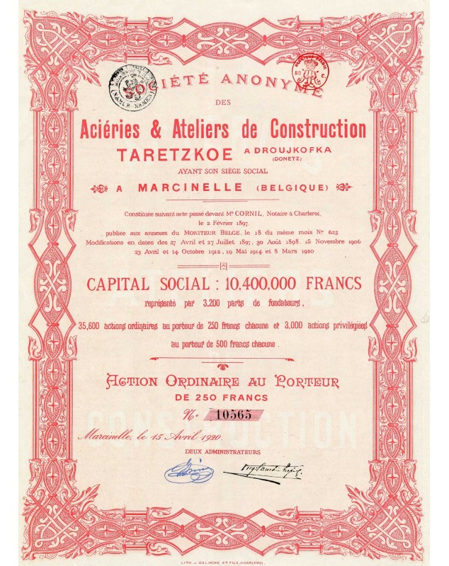 S.A. des Aciéries & Ateliers de Construction Taretzkoe à Droujkofka (Donetz)