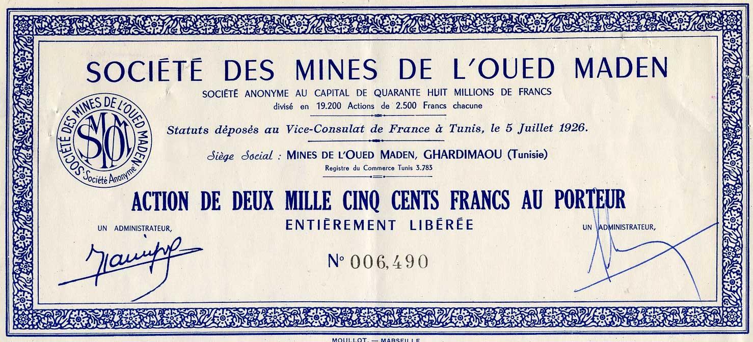 Ste Des Mines De L Oued Maden Numistoria