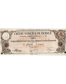 Crédit Foncier de France - Obligations Foncières Communales 3% à Lots 1951