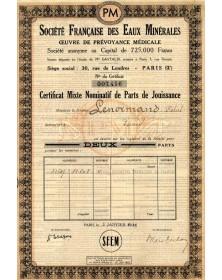 Sté Française des Eaux Minérales, Oeuvre de Prévoyance Médicale