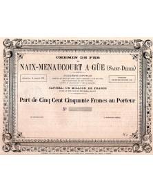 Chemin de Fer de Naix-Menoucourt à Gué (St-Dizier)