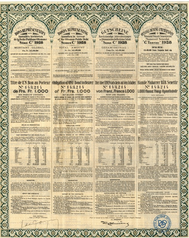 Bonds Representing the Annuities in Arrear of the Ottoman Debt