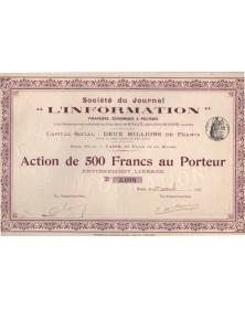"""Journal """"L'Information"""" Financière, Economique et Politique. 1912"""