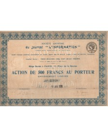 """S.A. du Journal """"L'Information"""" Financière, Economique et Politique"""