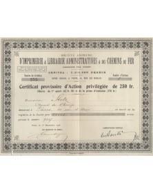 """Sté"""" d'Imprimerie & Librairie Administratives & des Chemins de Fer"""