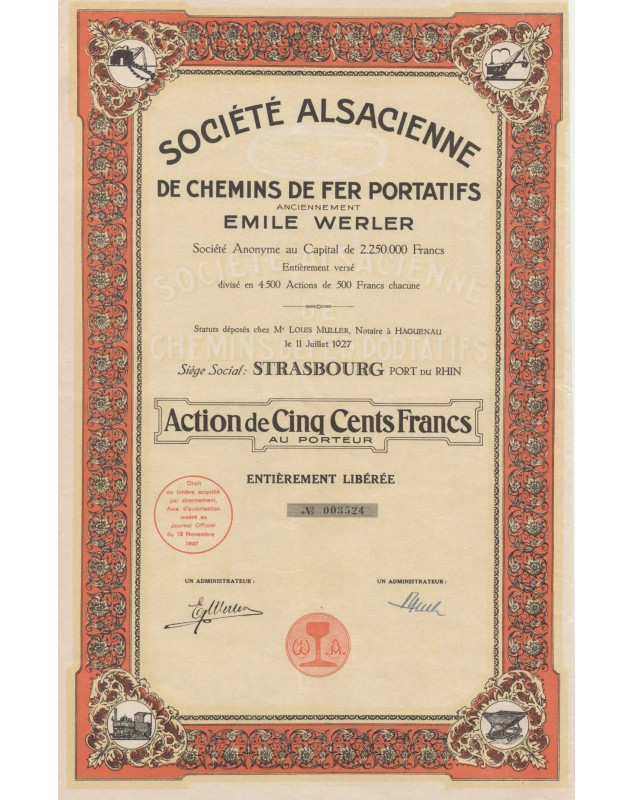 Sté Alsacienne de Chemins de Fer Portatifs. Anc. Emile Werler