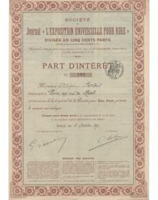 """Sté du Journal """"L'Exposition Universelle pour Rire"""""""
