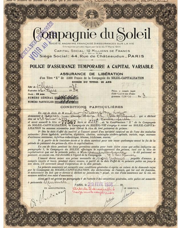 Compagnie du Soleil - Life Insurance