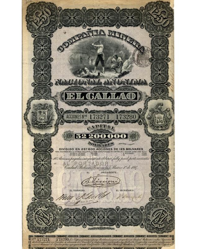 Compania Minera Nacional Anonima El Callao. 1887