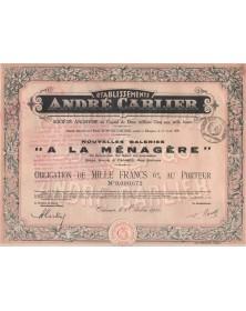 """Ets André Carlier - Nlles Galeries """"A la Ménagère"""""""