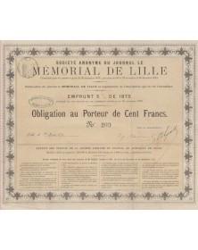 Journal du Mémorial de Lille. Emprunt 5% 1873
