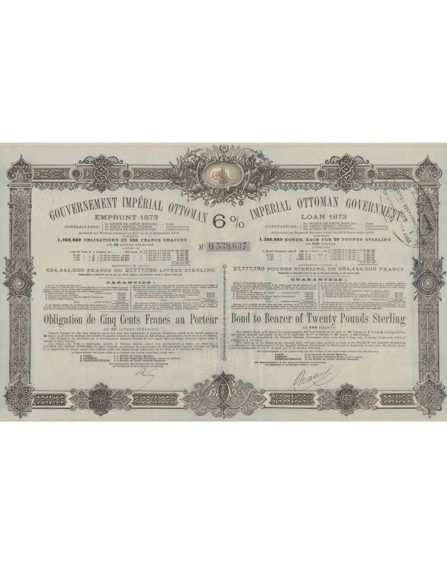 Gouv. Impérial Ottoman Emprunt 1873 6%