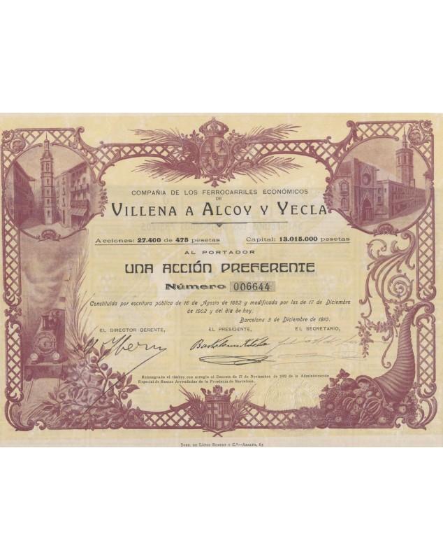 Compañia de Los Ferrocarriles Economicos de Villenas a Alcoy y Yecla