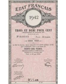 République Française. Dette Publique 3% 1943