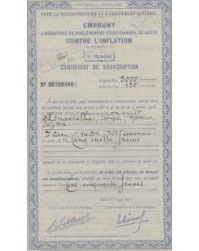 République Française, pour la Reconstruction et l'Equipement National - Emprunt Lutte contre l'Inflation