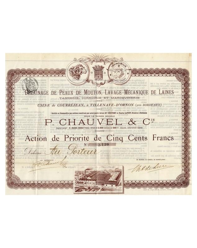 P. Chauvel & Cie. Délainage de Peaux de Mouton, Lavage Mécanique de Laines