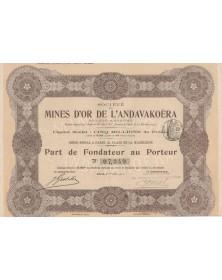 Sté des Mines d'Or de l'Andavakoëra Gold mines