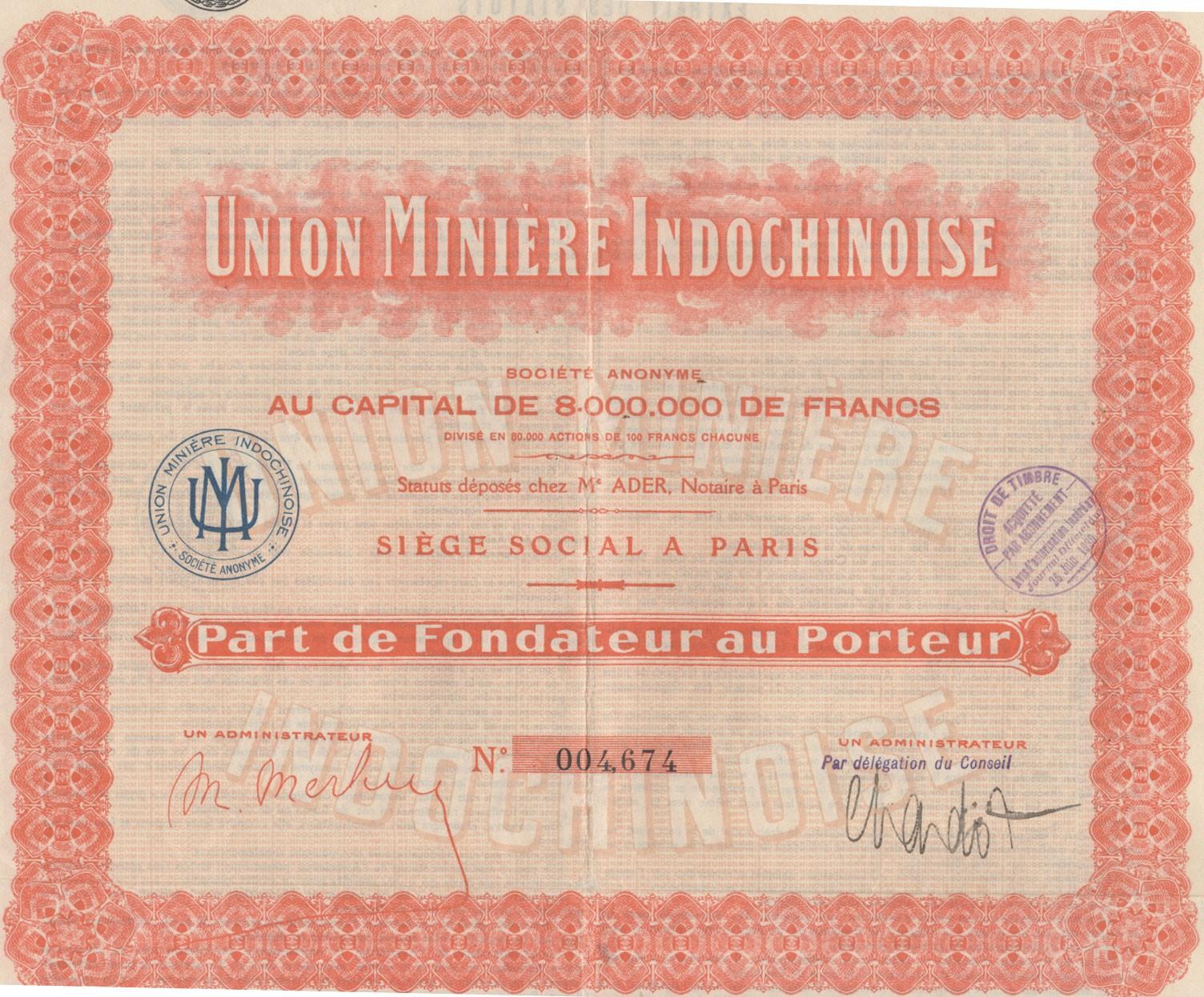 Union Minière Indochinoise INDOCHINE N