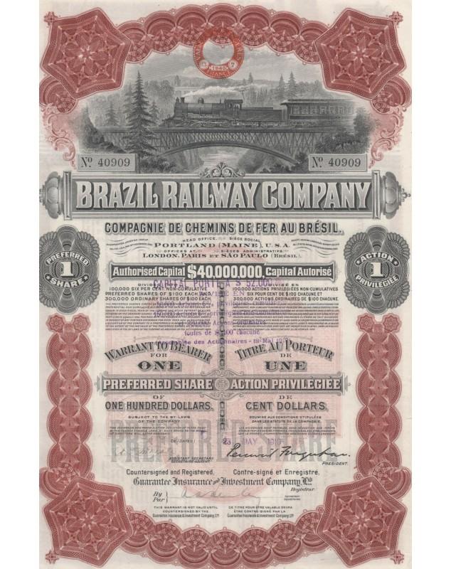 Brazil Railway Co. - Cie de Chemins de Fer au Brésil. 1912
