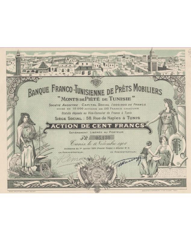 """Banque Franco-Tunisienne de Prêts Mobiliers """"Monts de Piété de Tunisie"""""""