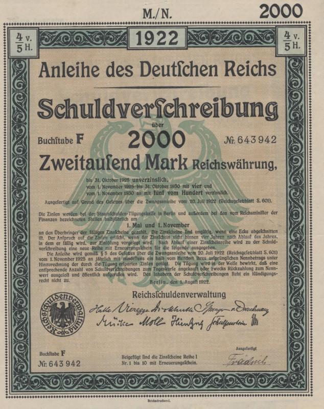 Anleihe des Deutschen Reichs Schuldverschreibung