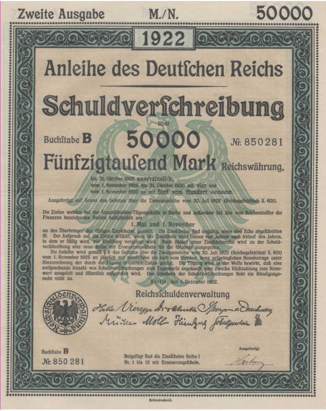Anleihe des Deutschen Reichs 1922, Dritte Ausgabe, 1000 Mark