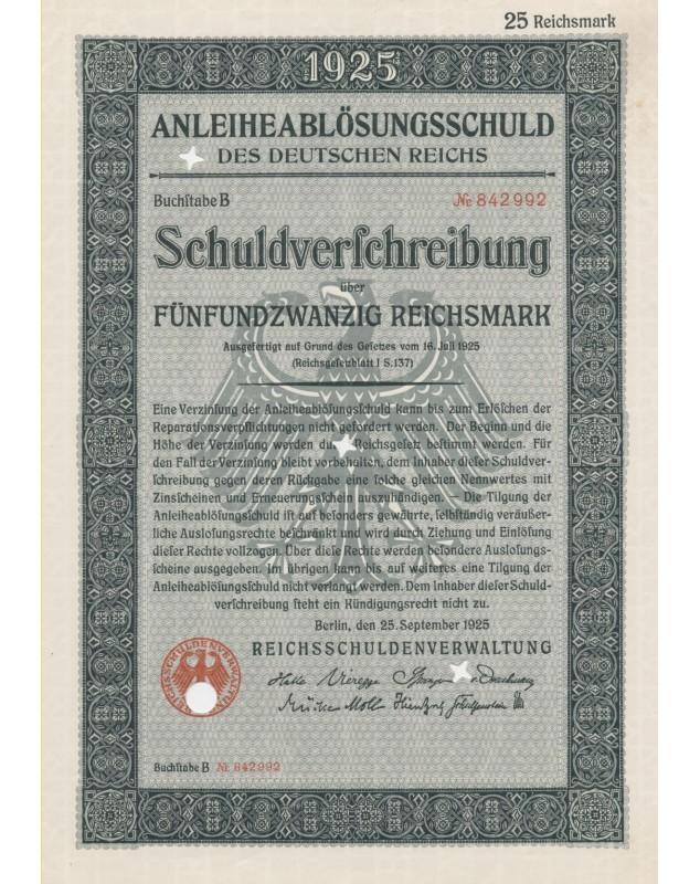 AnleiheablösungsSchuld des Deutschen Reichs 1925 - 50 RMarks