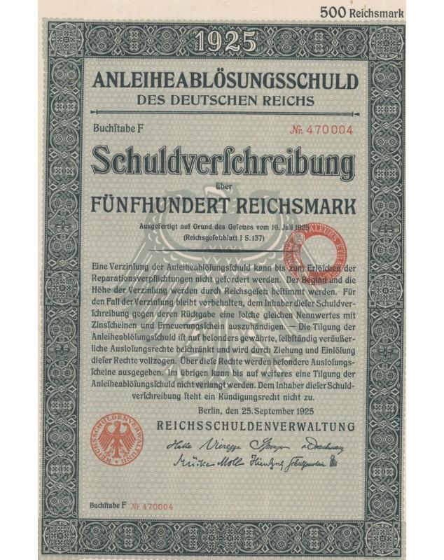 AnleiheablösungsSchuld des Deutschen Reichs 1925 - 500 RMarks