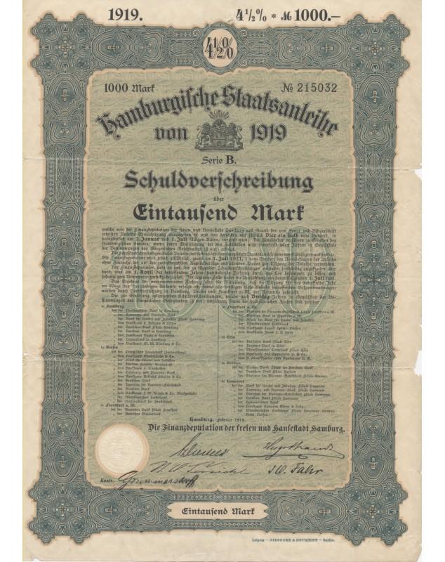 Hamburgische Staatsanleihe von 1919
