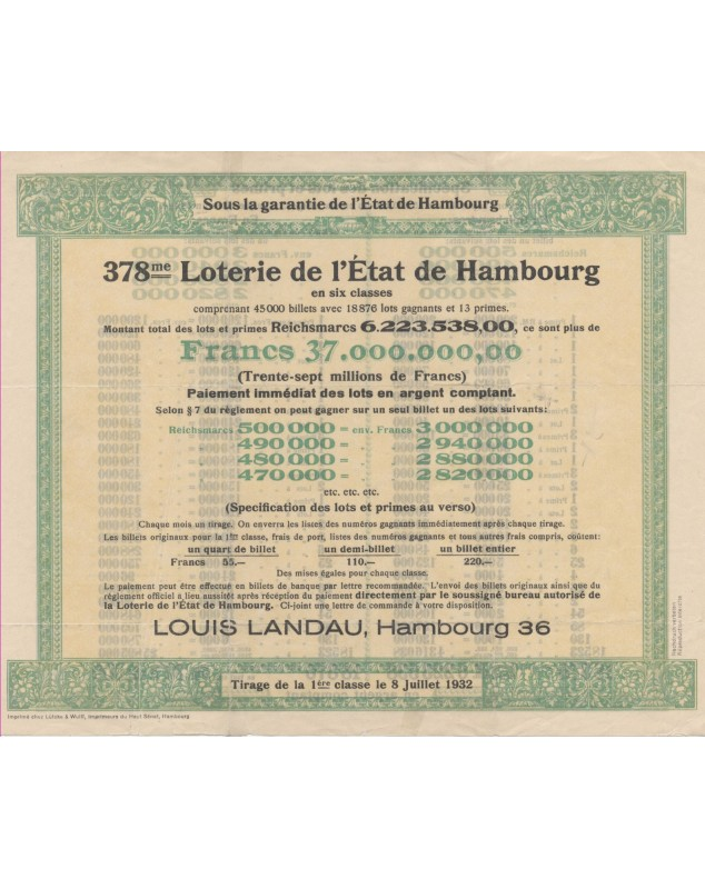 378th Lottery of Hambourg State