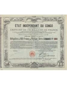 Etat Indépendant du Congo - Emprunt de 150 Millions F