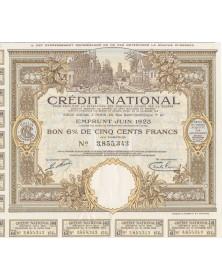 Crédit National pour faciliter la réparation des dommages causés par la Guerre.  Emprunt Juin 1923