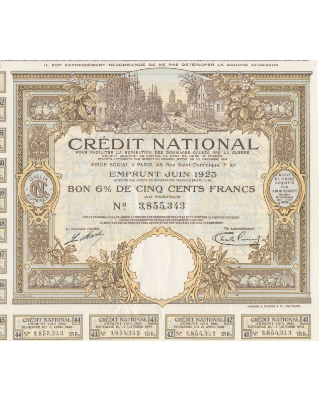Crédit National pour faciliter la réparation des dommages causés par la Guerre Emprunt Juin 1923