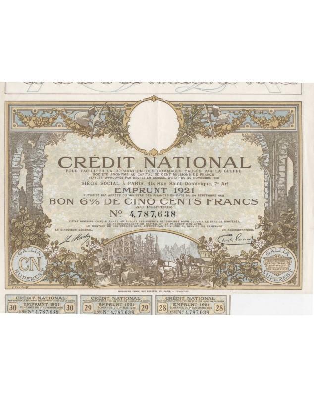Crédit National pour faciliter la réparation des dommages causés par la Guerre. Emprunt 1921