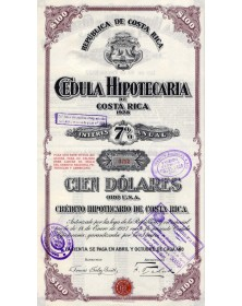 Republica de Costa Rica - Cédula Hipotecaria de Costa Rica 1928