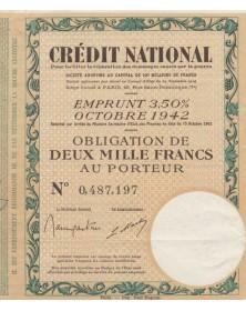 Crédit National pour faciliter la réparation des dommages causés par la guerre - Emprunt 3,5% 1942