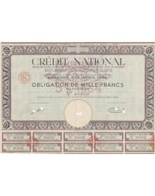 Crédit National pour faciliter la réparation des dommages causés par la guerre - Emprunt 5% Avril 1934