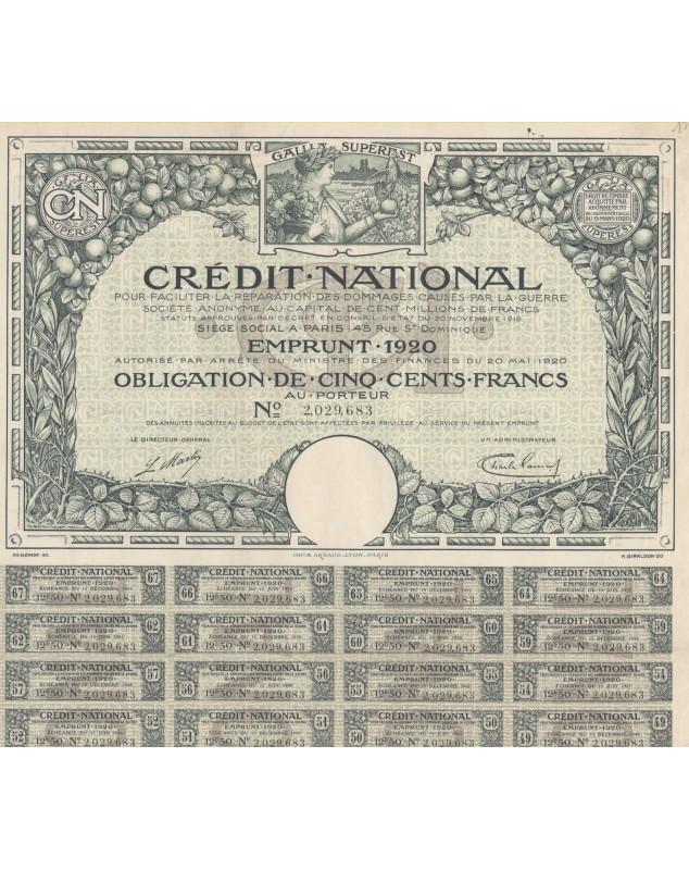 Crédit National pour faciliter la réparation des dommages causés par la Guerre - Emprunt 1920