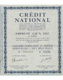 Crédit National pour faciliter la réparation des dommages causés par la guerre - Emprunt 4% 1941-1953 à Lots