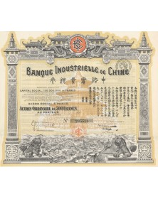 Banque Industrielle de Chine. Signed by Berthelot