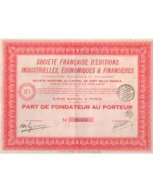 Sté Française d'Editions industrielles, Economiques & Financières (L'Orientation Economique et Financière)