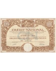 Crédit National pour faciliter la réparation des dommages causés par la Guerre - Emprunt 1919